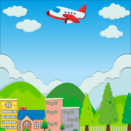 residential neighborhood: Airplane flying over buildings in suburb illustration