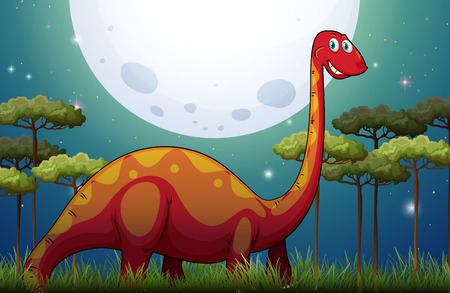 herbivorous: Dinosaur in the field at night illustration Illustration