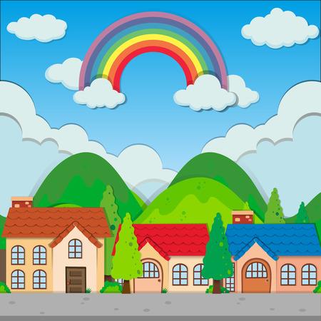 hills: Neighborhood at day time illustration