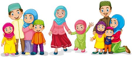 mujeres y niños: familias musulmanas que buscan feliz ilustración Vectores