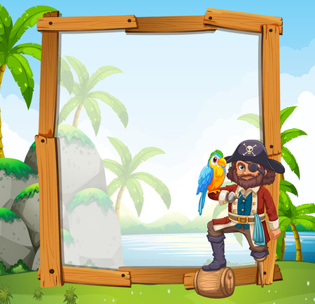 blank template: Border design with parrot and pirate illustration Illustration