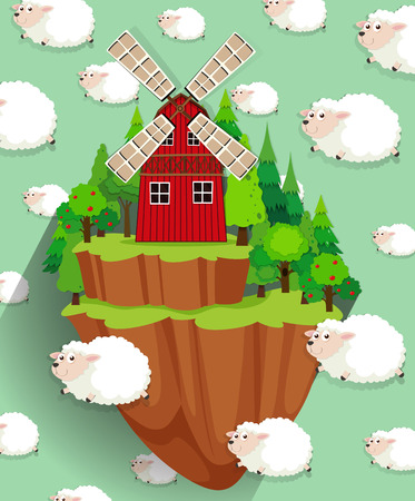 green building: Windmill on the farmland and sheep background illustration Illustration