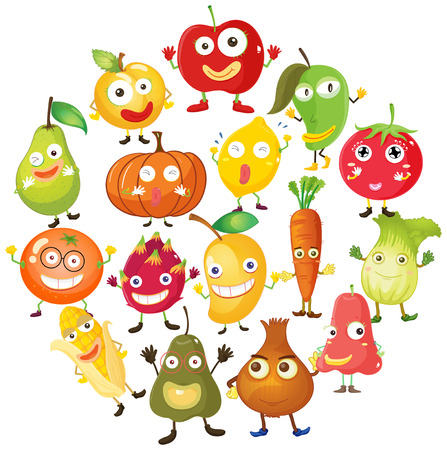fruits background: Fruits and vegetables with face illustration