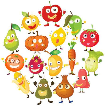 legumes: Fruits et légumes avec le visage illustration
