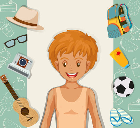 sandles: Hipster boy with other accessories illustration