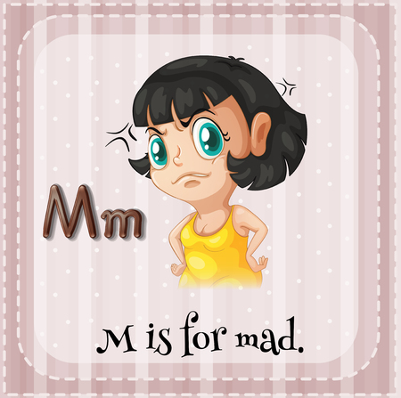 letter alphabet pictures: Flashcard letter M is for mad illustration