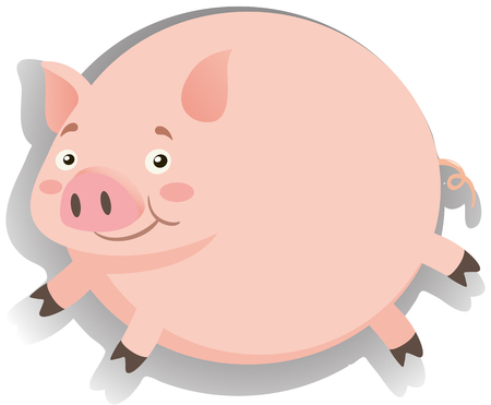 cerdos: Grasa de cerdo con cara feliz ilustración Vectores