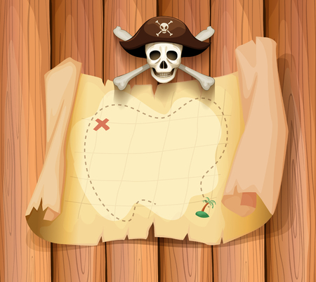background frame: Pirate skull and a map on the wall illustration Illustration