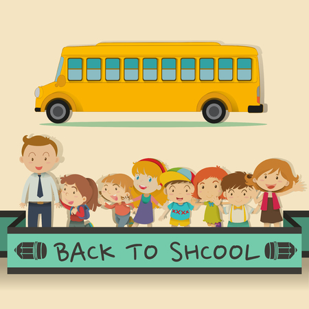 school friends: Back to school theme with students and teacher illustration