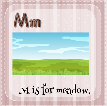 letter alphabet pictures: Flashcard letter M is for meadow illustration