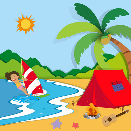 hobbies: Summer holiday on the beach illustration