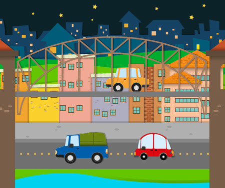 residential neighborhood: Cars driving in the city illustration