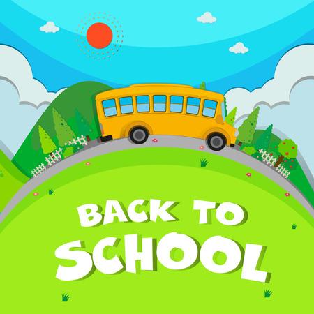 schoolbus: Schoolbus riding on the road illustration
