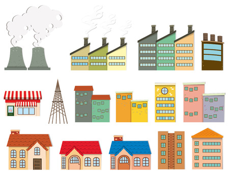 home clipart: Different kind of buildings illustration Illustration