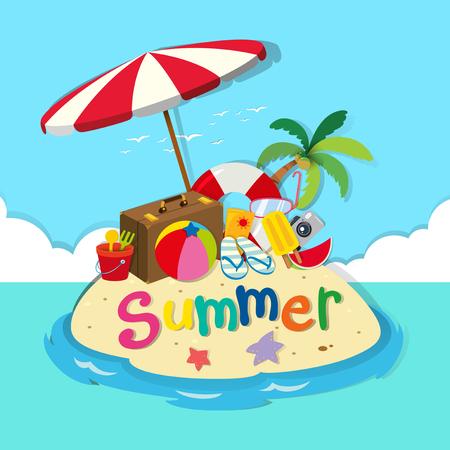 bagagli: Isola piena di oggetti spiaggia illustrazione