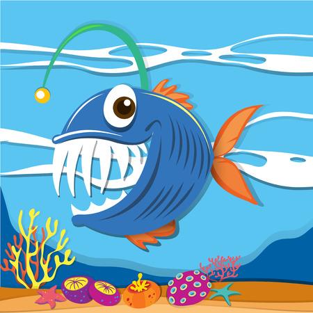 carnivorous: Fish swimming under the sea illustration
