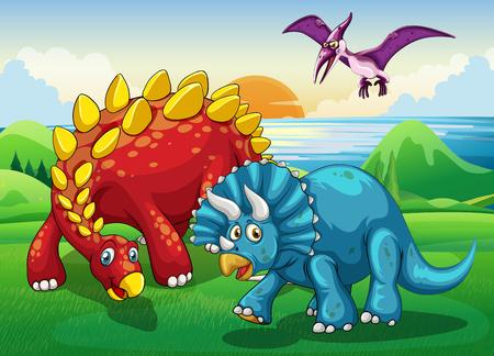 dinosaur clipart: Dinosaurs in the park illustration Illustration