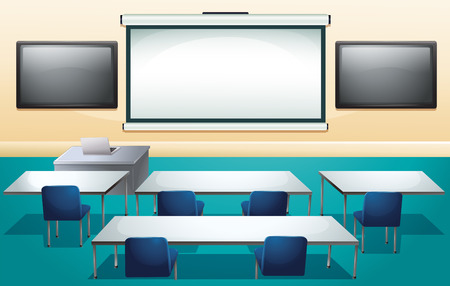 high school: Classroom with screens and tables illustration Illustration