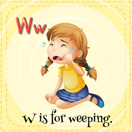 weeping: Flashcard letter W is for weeping illustration Illustration