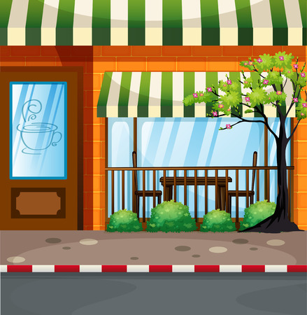 outdoor dining: Coffee shop on the street illustration