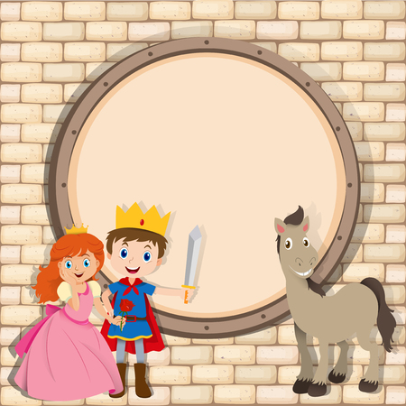 role play: Border design with prince and princess  illustration Illustration
