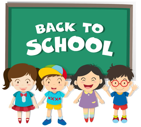 school boys: Back to school theme with boys and girls illustration
