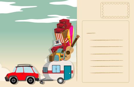 designs: Postcard design with travel theme illustration Illustration