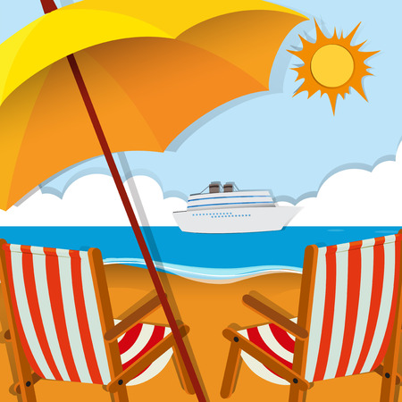 cruise travel: Beach scene with chairs and umbrella illustration
