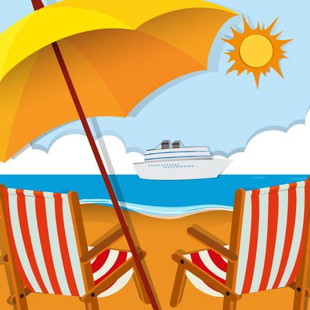 beach scene: Beach scene with chairs and umbrella illustration