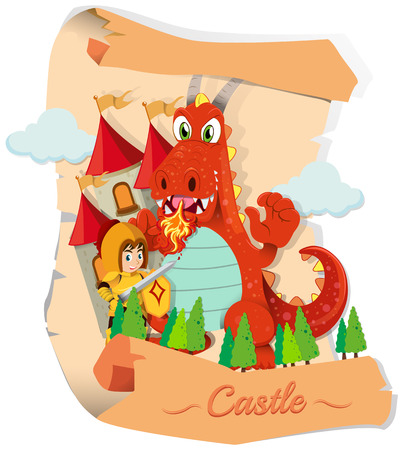 role play: Knight and dragon at the castle illustration Illustration