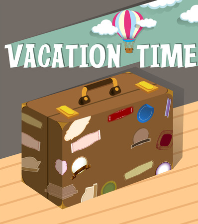 Vacation time with luggage illustration Illustration