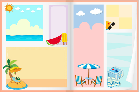 sandles: Paper design with summer theme illustration Illustration