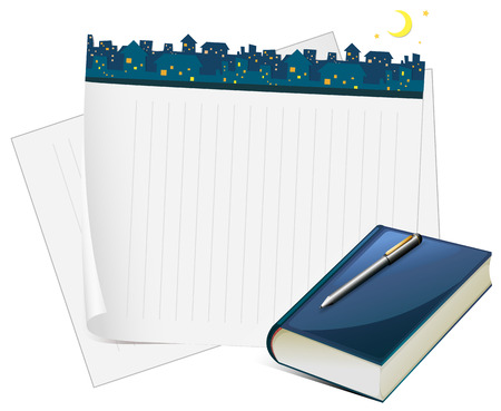 diary: Paper design with city view at night illustration