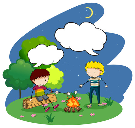 night out: Two boys camping out at night illustration