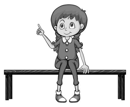 joven sentado: Little girl sitting on the bench illustration