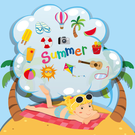 sandles: Summer theme with girl on the beach illustration