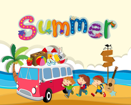 Summer theme with children on the beach illustration