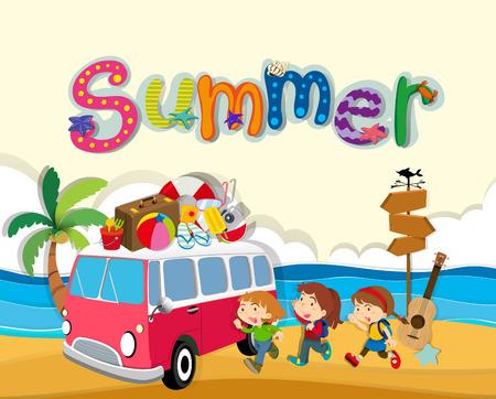 Tema di estate con i bambini sulla spiaggia illustrazione Archivio Fotografico - 48889256