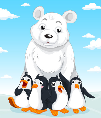 flightless: Polar bear and penguins illustration