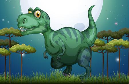 jurassic: Dinosaur in the field at night illustration Illustration