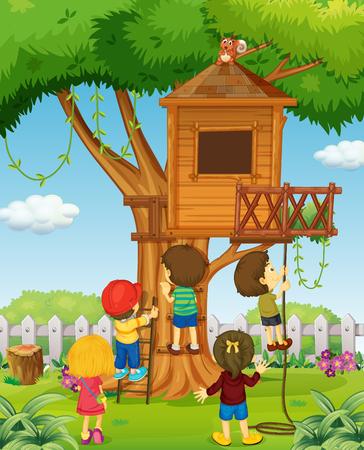 rope ladder: Children playing on the treehouse illustration Illustration