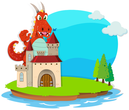 fantacy: Dragon destroying the castle illustration