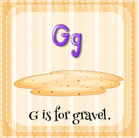 gravel: Flashcard alphabet G is for gravel illustration