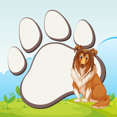 large dog: Border design with large dog illustration Illustration