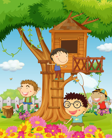 kids fun: Boys playing in the garden illustration