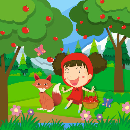 little girl dress: Little girl in red dress and a wolf illustration