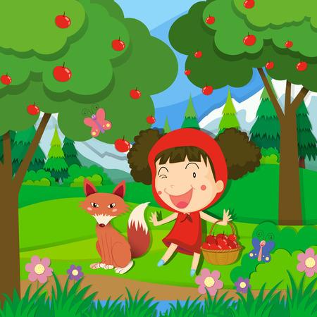 petite fille avec robe: Petite fille en robe rouge et une illustration de loup