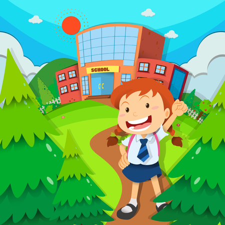 college girl: Girl going to school illustration