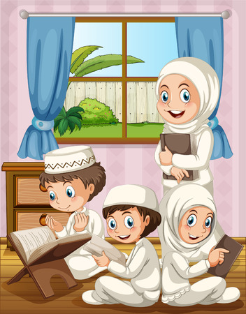 islamic pray: Muslim family praying in the house illustration
