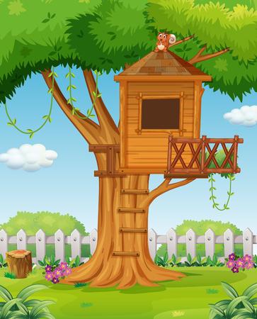 flor caricatura: Casa del árbol en la ilustración jardín Vectores